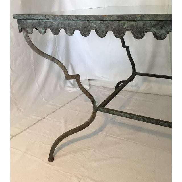 1940s French Provincial Iron Table With Glass Top For Sale In Los Angeles - Image 6 of 13