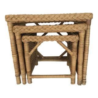 1970s Boho Chic Walters Wicker Trio of Wicker Side Tables - Set of 3 For Sale