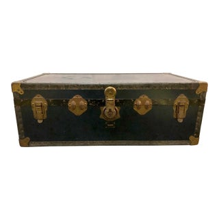 Antique English Blue Pakawa Steamer Trunk For Sale