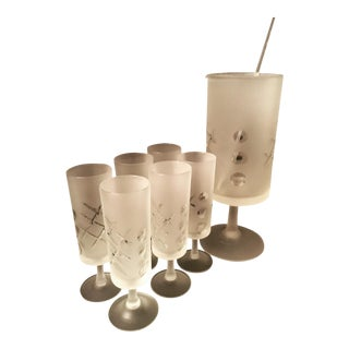 Mid-Century Frosted Martini Cocktail Server & Glasses - Set of 7