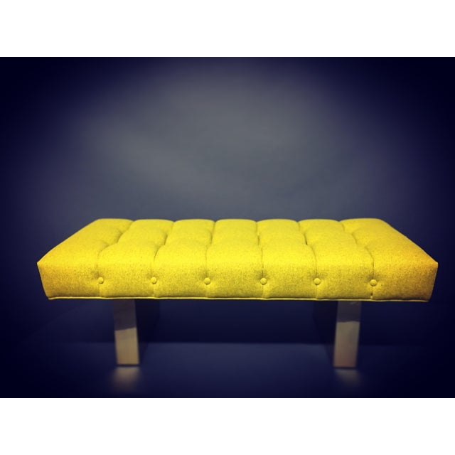 Art Deco Mid-Century Modern Bright Yellow Tufted Bench on Brass Base For Sale - Image 3 of 11
