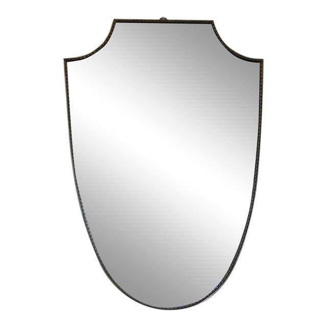 Midcentury Italian Shield Brass Mirror For Sale