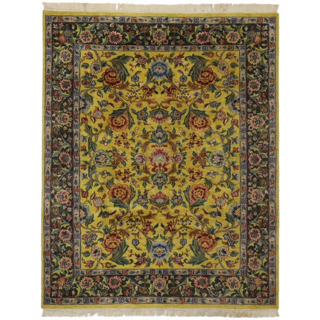 "Vintage Traditional Style Yellow Area Rug - 7'10"" x 9'9"" - Image 1 of 5"