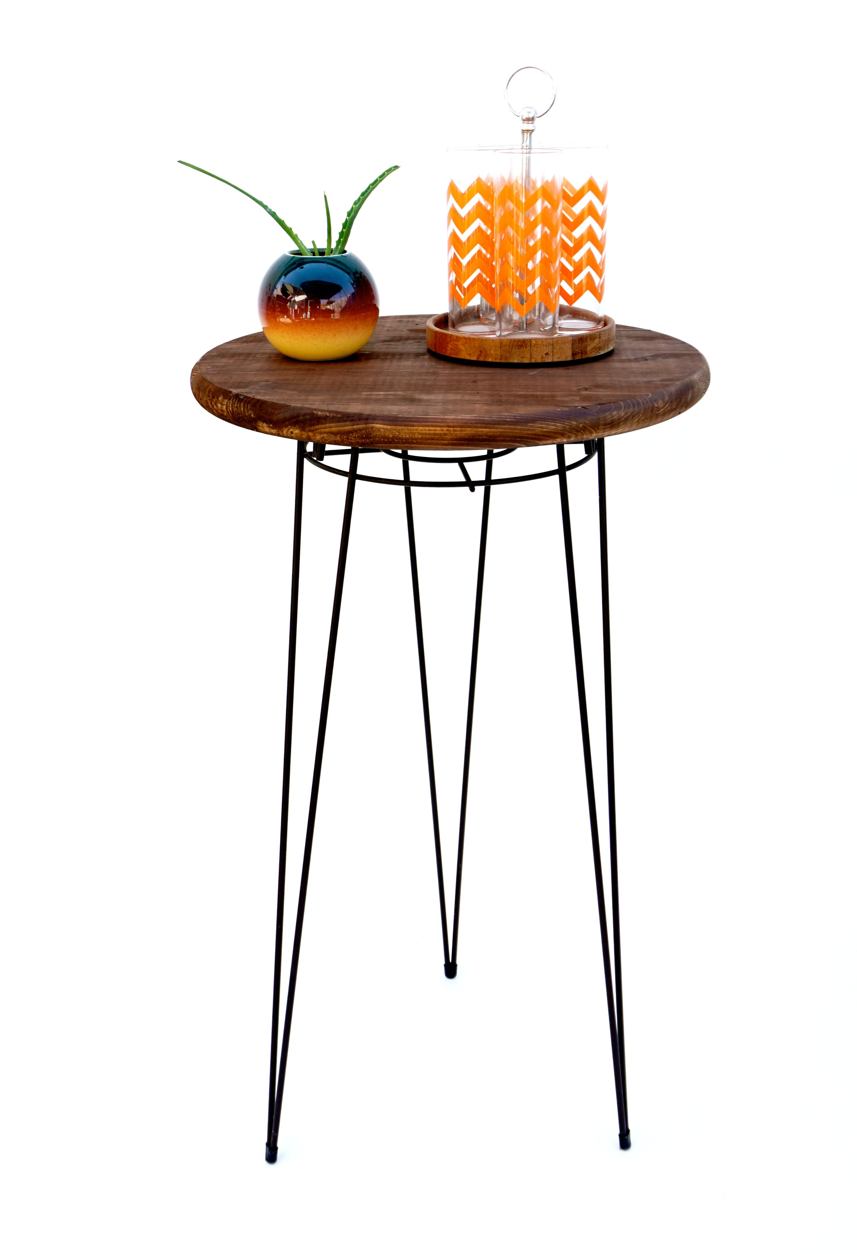 Merveilleux Mid Century Modern Metal Hairpin U0026 Wood Plant Stand / Table   Image 2 Of
