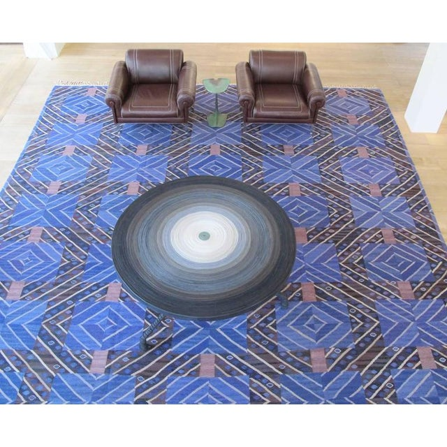 Titled 'Blue Rays' this masterpiece of Scandinavian Mid-Century Modern was designed by textile artist Marianne Richter...