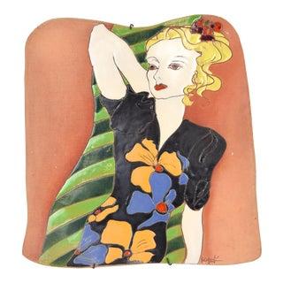 Large Vintage Studio Art Pottery Wall Plaque Woman in 1940's Colorful Dress Kozek For Sale