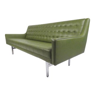 Stylish Vintage Modern Sofa in Tufted Green Vinyl For Sale