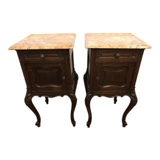 French Louis XV Carved Marble Top Nightstands - A Pair For Sale