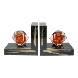 Bookends Lucite Encased Ukraine Pysanka Handpainted Easter Egg and Sprays of Wheat - a Pair For Sale