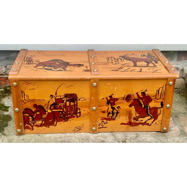 1950s Vintage Cowboys and Indians Wooden Toy Chest For Sale - Image 13 of 13