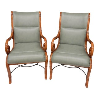 1950's Bamboo Arm Chairs by Maison Jansen - a Pair For Sale