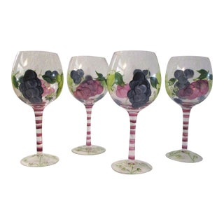 1990s Hand-Painted Grape Design Wine Glasses, S/4 For Sale