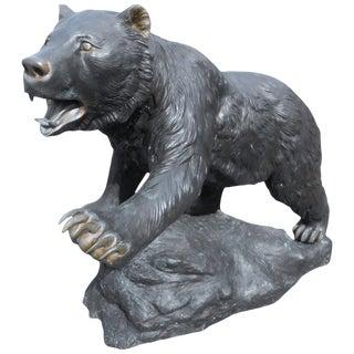 Impressive Bronze Bear Garden Estate Statue For Sale