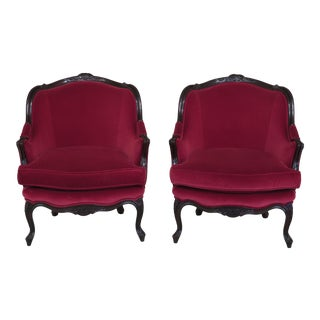 Baker French Louis XV Style Velvet Bergere Chairs - a Pair