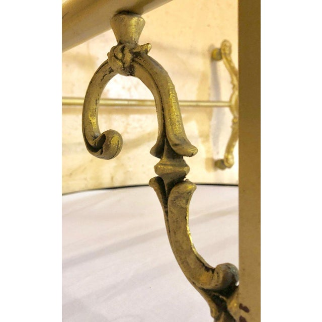 Brass Hollywood Regency Three-Tier Large Bakers Rack Gilt Metal and Glass Shelves For Sale - Image 8 of 10