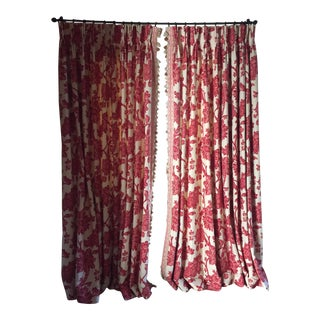 Wythe House Red Border Custom Lined Curtain Panels - Set of 4 For Sale