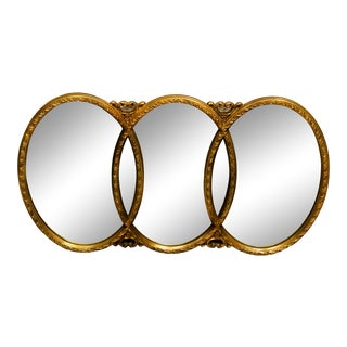 Vintage 1960s Gold Framed 3 Section Wall Mirror For Sale