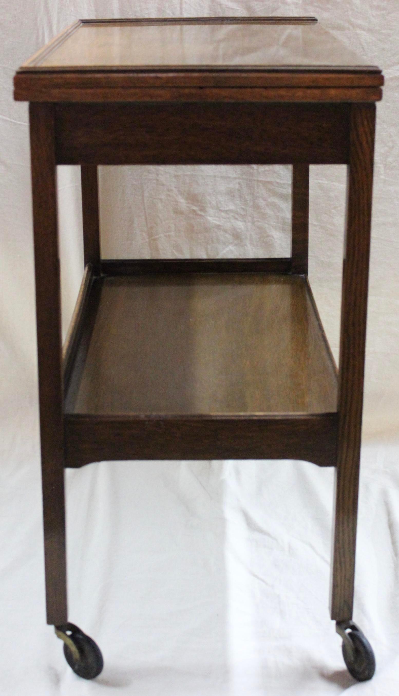 Charmant Vintage Oak Flip Top Bar Cart   Image 4 Of 11