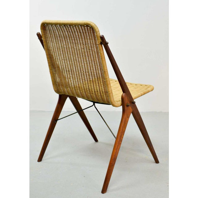 1950s Dutch Design Wicker and Teak Wood Side Chair in Style of Dirk van Sliedregt, 1950s For Sale - Image 5 of 12