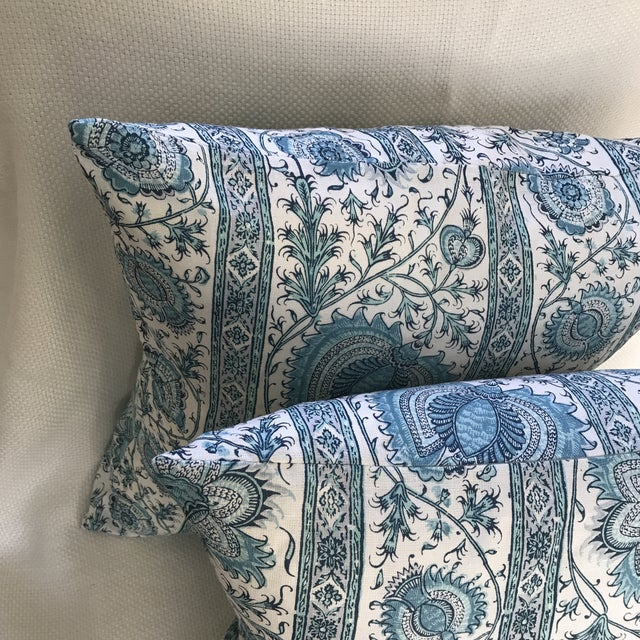 "Anglo-Indian Quadrille China Seas Linen ""Palampore"" Stripe Pillow Covers- Pair For Sale - Image 3 of 7"