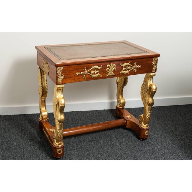 Empire 19th Century French Empire Mahogany and Giltwood Dressing Table, Writing Desk For Sale - Image 3 of 11
