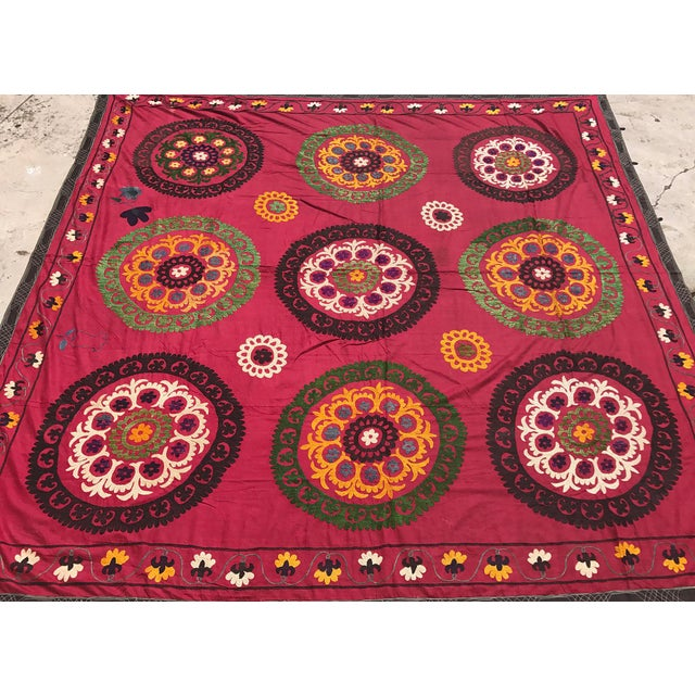 Boho Chic Red Handmade Suzani Tablecloth For Sale - Image 3 of 5