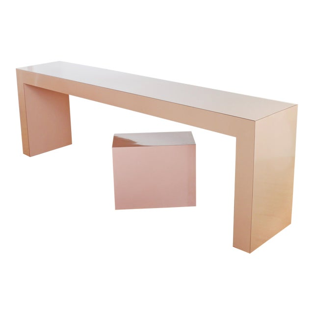 Post Modern Parson's Table- Laminate Console Table and Plinth For Sale