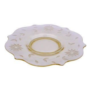 1930s Light Yellow Glass Curvy Dessert Plate For Sale