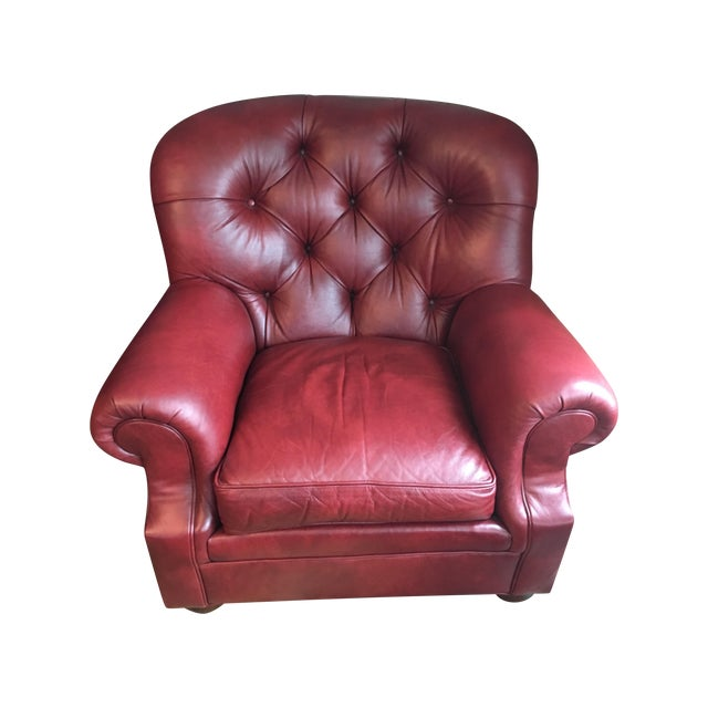 Ethan Allen Leather Sydney Chair - Image 1 of 4