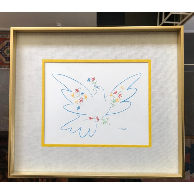 Vintage Picasso Peace Dove Wall Art Brass Frame | Chairish