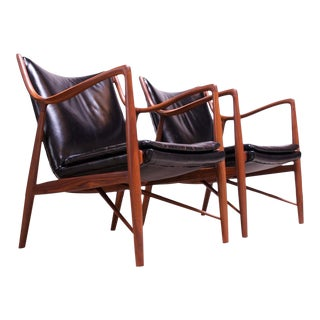 "Vintage Walnut and Leather ""45"" Lounge Chairs by Finn Juhl for Baker - a Pair For Sale"