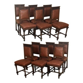 Set of Twelve Italian Neoclassical Walnut Chairs