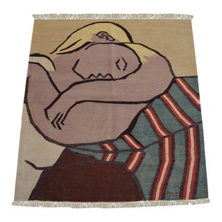 Picasso -Woman With Yellow Hair Inspired Hand Woven Area Kilim Wall Rug 3′1 × 4′1″