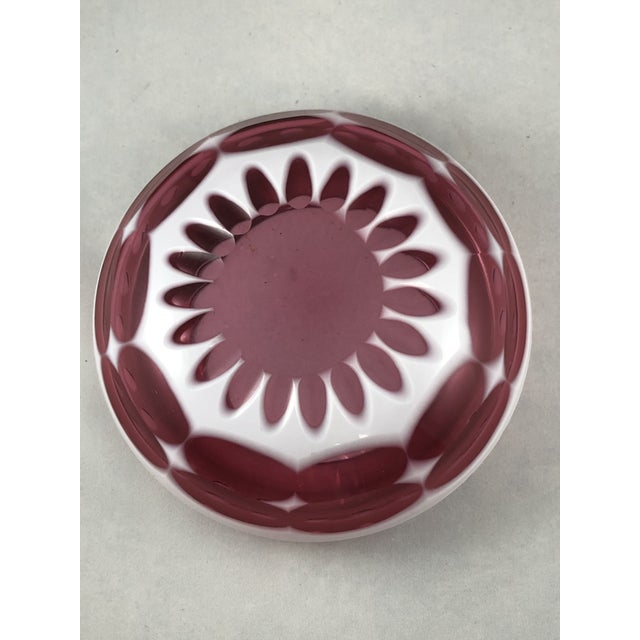 Art Deco Bohemian Ashtray in Cranberry and Opaque White Hand Cut Glass For Sale - Image 9 of 11
