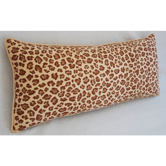 """Leopard Velvet Lumbar Body Feather/Down Pillow 38"""" x 17"""" For Sale - Image 4 of 10"""