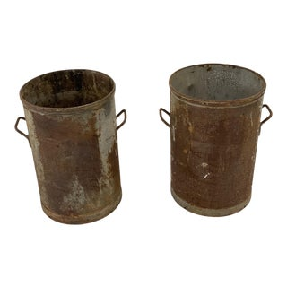 1930s Industrial Bin Planters - a Pair For Sale