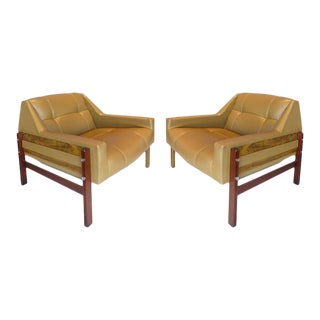 Brazilian Jacaranda Wood Mid-Century Club Chairs by Percival Lafer - A Pair For Sale