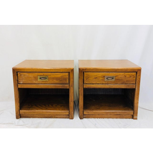 Pair Stunning Vintage Mid Century Modern Era Hollywood Regency Campaign Style Nightstand Chests / Side Tables. Each...