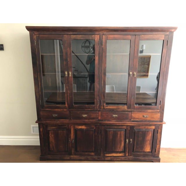 Indonesian Glass & Wood Breakfront Bookcase For Sale - Image 9 of 9