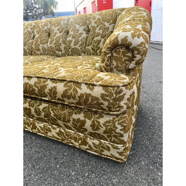 Mid-Century Transitional Floral Ecru & Green Sofa For Sale In San Francisco - Image 6 of 10