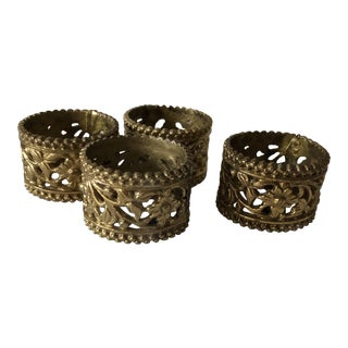 Vintage Brass Filigree Napkin Holders, S 4 For Sale