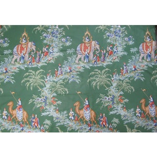 "Brunschwig & Fils Beauport Promenade Vintage Print in Green - 51x85"" For Sale"