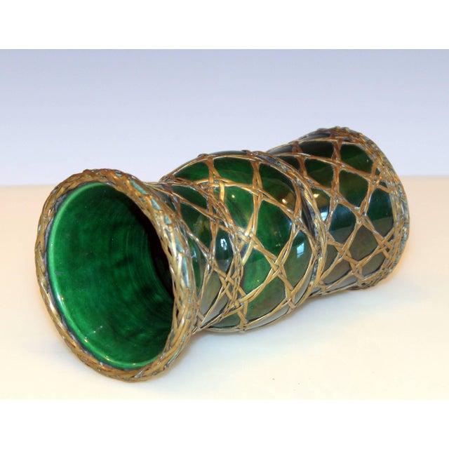 Arts & Crafts Antique Awaji Pottery Gu Form Vase Brass Weaving For Sale - Image 3 of 10