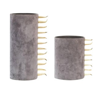 Contemporary Gravel Suede Vases - a Pair For Sale