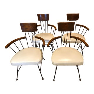 Richard McCarthy Walnut and Iron Chairs for Selrite- Set of 4 For Sale