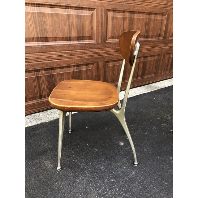 """Nine plywood and aluminum classic Shelby Williams """"Gazelle"""" chairs. Appears to be birch veneer. Original condition,..."""