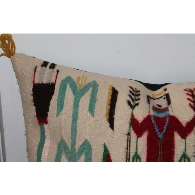 Americana Monumental Yea Indian Weaving Bolster Pillow For Sale - Image 3 of 7