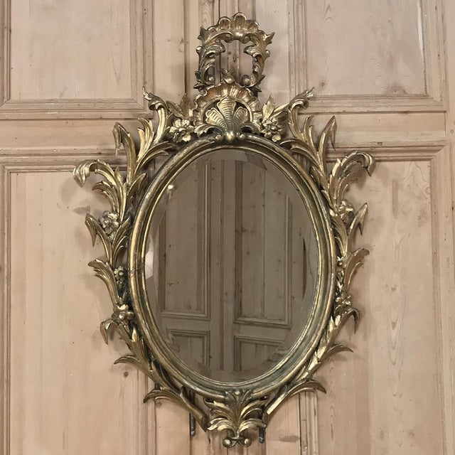 Antique Italian Baroque Carved Wood Gilded Mirror For Sale - Image 11 of 11