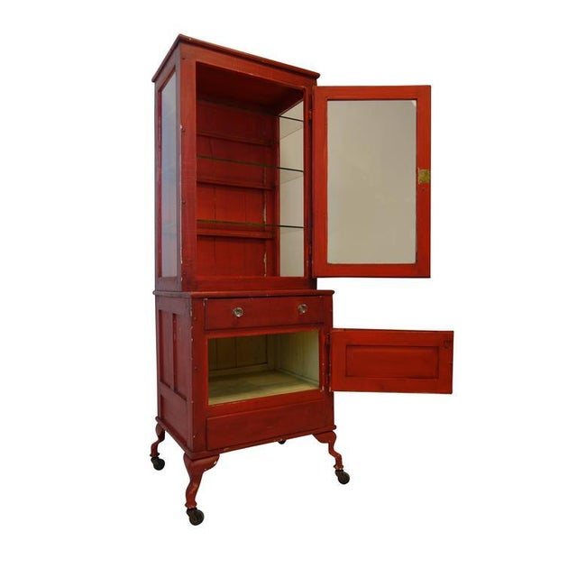 Glass Red Painted Medical Cabinet For Sale - Image 7 of 8