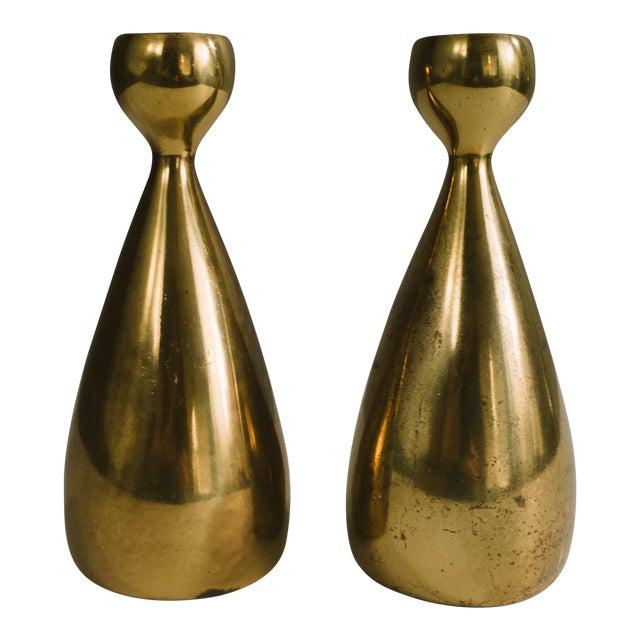 1950s Ben Seibel Brass Candlestick Holders - a Pair For Sale
